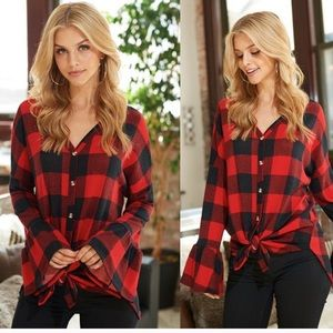ONE SMALL LEFT! Plaid ruffle sleeve top